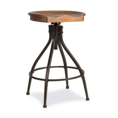 Worland 24-30 in. Brown Metal Backless Adjustable Height Swivel Stool