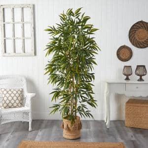 75 in. Green Bamboo Artificial Tree in Handmade Natural Jute Planter with Tassels