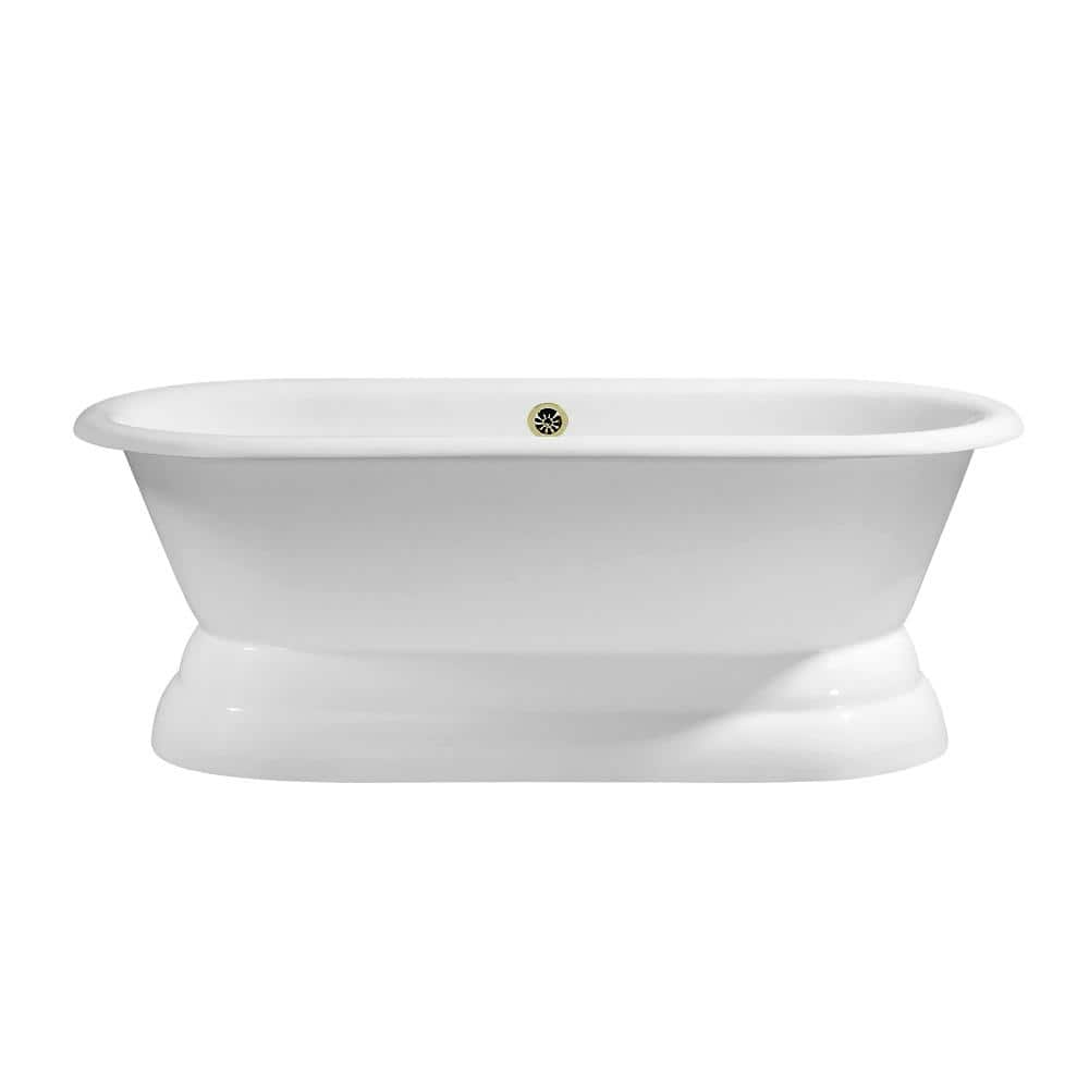 Streamline 60 In Cast Iron Soaking Free Standing Tub In Glossy White With Tray And External Drain R5081bnk The Home Depot