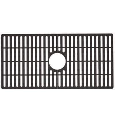 30 in. x 15 in. Silicone Bottom Grid for 33 in. Single Bowl Composite Kitchen Sink in Black