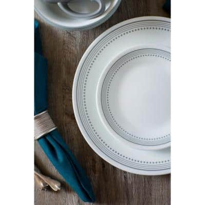 Classic 16-Piece Patterned Gray Design Glass Dinnerware Set (Service for 4)