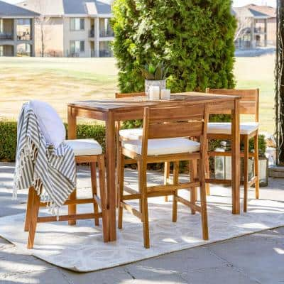 Brown 5-Piece Acacia Wood Rectangle Counter Height Outdoor Dining Set with White Cushions