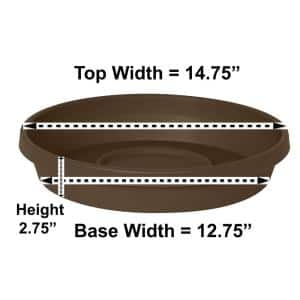 Terra 14.75 in. Chocolate Plastic Plant Saucer Tray