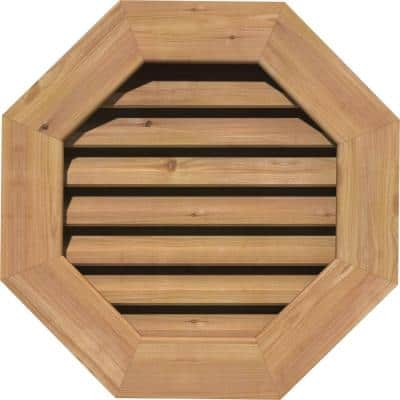 17 in. x 17 in. Octagon Unfinished Smooth Western Red Cedar Wood Paintable Gable Louver Vent