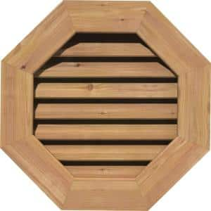 25 in. x 25 in. Octagon Unfinished Smooth Western Red Cedar Wood Paintable Gable Louver Vent