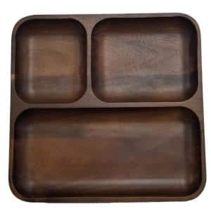 Acacia 10 in. x 10 in. x 1 in.  Brown Wooden Tray