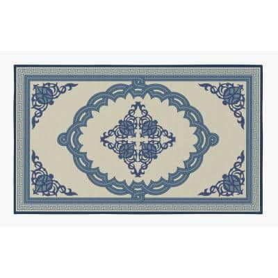 Transitional with Nonslip Backing Blue Medallion Pattern 4 ft. x 6 ft. Small Living Room Area Rug