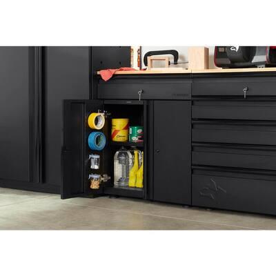 Heavy Duty Welded 20-GaugeSteel 1-Drawer 2-Door Garage Base Cabinet in Black (28 in. W x32 in. H x 21.5 in. D)