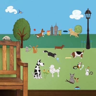 Dog and Cat Multi Peel and Stick Removable Wall Decals Animal Theme Mural (37-Piece Set)