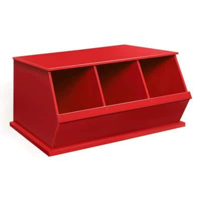 37 in. W x 17 in. H x 19 in. D Red Stackable 3-Storage Cubbies