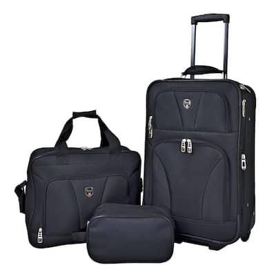 3-Piece Eva-Styled Softside Rolling Carry-On Value Bag Set