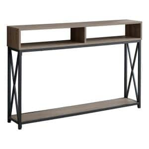 48 in. Dark Taupe Standard Rectangle Console Table with Storage