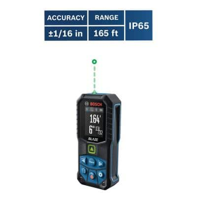 BLAZE 165 ft. Green Laser Distance Tape Measuring Tool with Bluetooth, Haptic Feedback, and Measurement Rounding