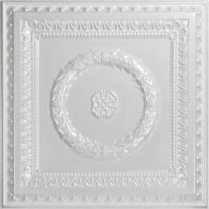 Laurel Wreath 2 ft. x 2 ft. PVC Glue-up or Lay-in Ceiling Tile in White Pearl