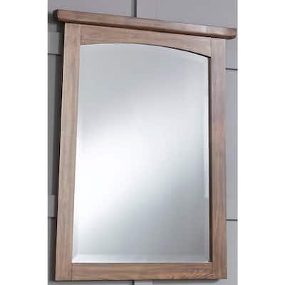Medium Rectangle Brown Teak Beveled Glass Casual Mirror (38 in. H x 30 in. W)