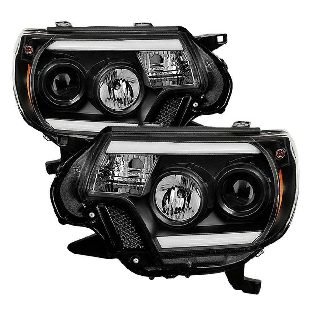 Toyota Tacoma 12-15 Projector Headlights - Light Bar DRL - Black