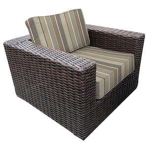 Santa Monica Wicker Outdoor Club Lounge Chair with Sunbrella Milano Char Cushions