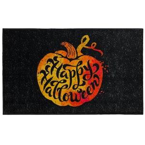 Speckled Pumpkin Black 2 ft. x 3 ft. 4 in. Holiday Area Rug