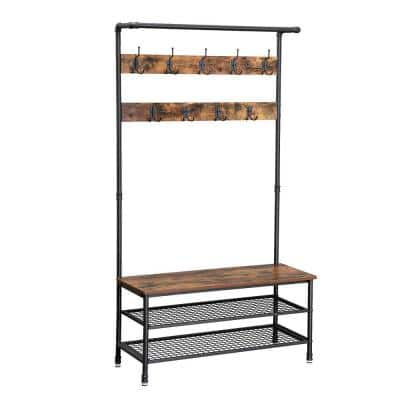 Brown and Black Metal with Wooden Bench 2-Wire Meshed Shelved Coat Rack