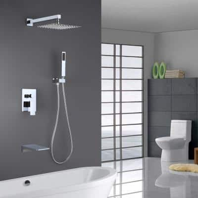 Single-Handle 1- -Spray Tub and Shower Faucet with 2 GPM 10 in. 3 Functions Dual Shower Heads in Chrome (Valve Included)