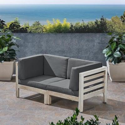 Oana Weathered Grey 2-Piece Wood Outdoor Loveseat with Dark Grey Cushions