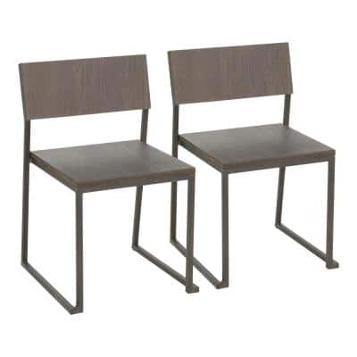 Industrial Fuji Dining Chair in Antique and Espresso (Set of 2)