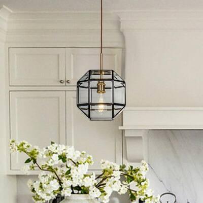 1-Light Anitque Copper Lantern Geometric Pendant Light with Clear Glass