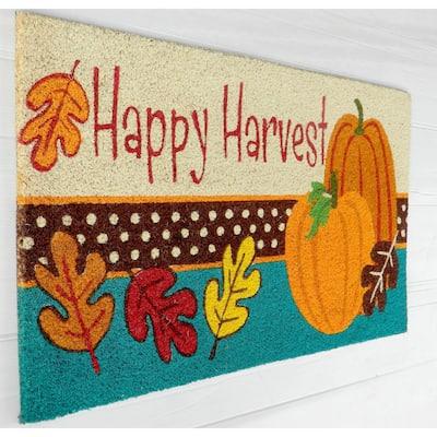 Happy Harvest 18 in. x 30 in. Coir Door Mat