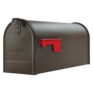 Elite Medium, Steel, Post Mount Mailbox, Textured Bronze