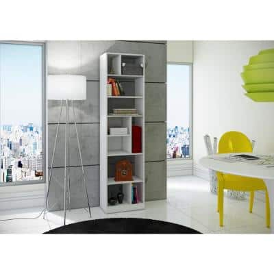 70.87 in. White Wood 10-shelf Accent Bookcase with Open Back