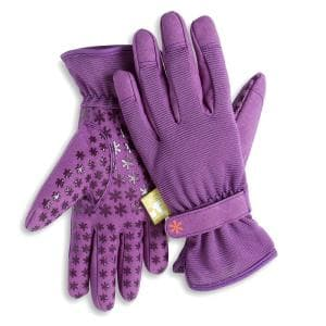 Women's Small/Medium Nail and Fingertip Protector Gardening Gloves in Purple