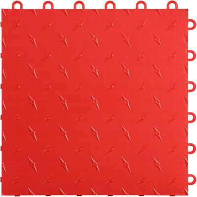 12 in. W x 12 in. L Racing Red Diamondtrax Home Modular Polypropylene Flooring (10-Tile/Pack) (10 sq. ft.)