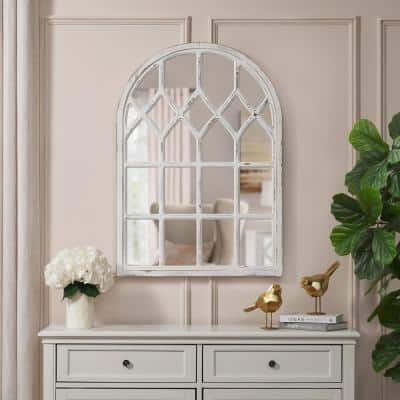 Medium Arched White Windowpane Antiqued Classic Accent Mirror (26 in. H x 36 in. W)