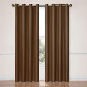 Chocolate Thermal Grommet Blackout Curtain - 52 in. W x 95 in. L