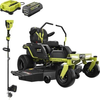 54 in. 48-Volt HP Brushless 115 Ah Battery Electric Riding Zero Turn Mower with 40-Volt HP String Trimmer