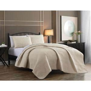 Yardley 3-Piece Ivory Embossed King Quilt Set
