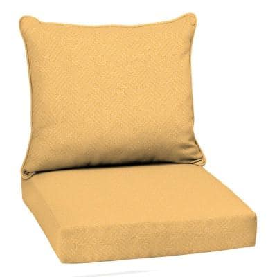 22 in. x 19 in. Yellow Shirt Texture 2-Piece Deep Seating Outdoor Lounge Chair Cushion
