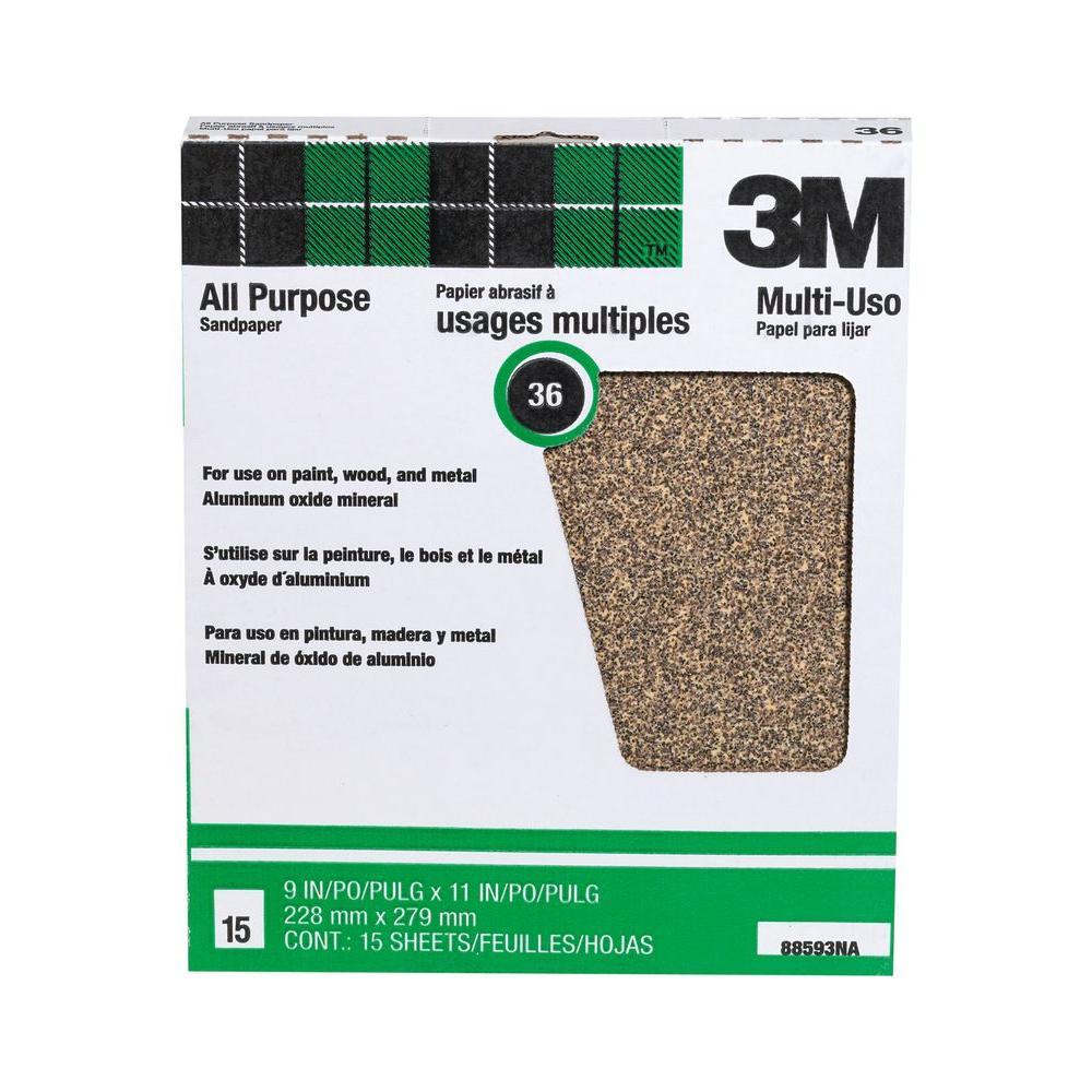 9 in. x 11 in. 36 Grit Extra Coarse Aluminum Oxide Sandpaper ((15-Pack) (Case of 10))