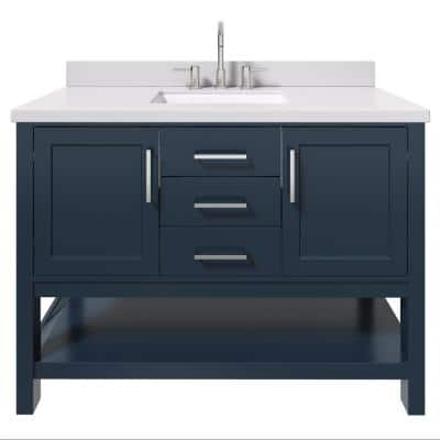 Bayhill 49 in. W x 22 in. D Bath Vanity in Midnight Blue with Quartz Vanity Top in White with White Basin