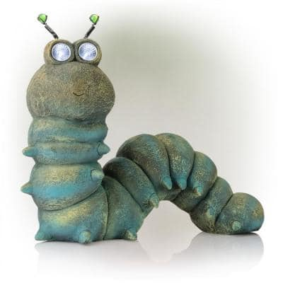 16 in. Tall Outdoor Solar Powered Garden Caterpillar Statue with LED Lights