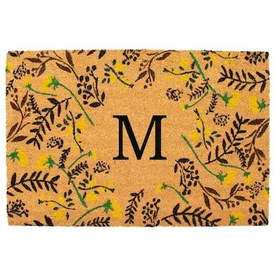 Floral 24 in. x 36 in. Monogrammed (Letter M) Door Mat