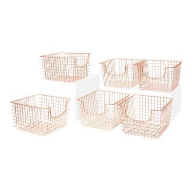 Scoop 13 in. D x 12 in. W x 8 in. H Medium Copper Steel Wire Storage Bin Basket Organizer (6-Pack)
