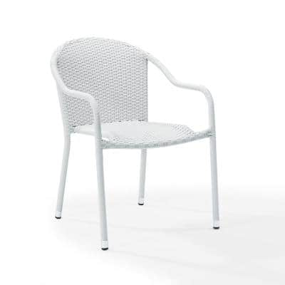 Palm Harbor 4-Piece White Outdoor Wicker Chair Set