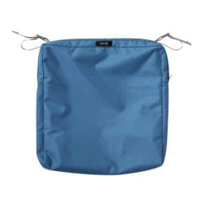 Ravenna Water-Resistant 19 in. x 19 in. x 3 in. Patio Seat Cushion Slip Cover, Empire Blue