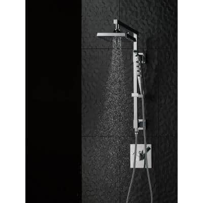 Zura 4-Spray 1.4 in. Single Wall Mount Handheld H2Okinetic Shower Head in Chrome