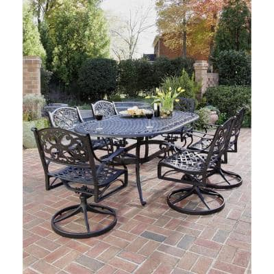 Sanibel Swivel Black 7-Piece Cast Aluminum Outdoor Dining Set