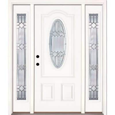63.5 in.x81.625in.Mission Pointe Zinc 3/4 Oval Lt Unfinished Smooth Right-Hd Fiberglass Prehung Front Door w/Sidelights
