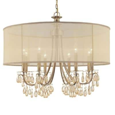 Hampton 8-Light Antique Brass Shaded Chandelier with Silk Shade
