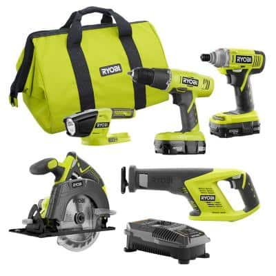 18-Volt ONE+ 5-Tool Combo Kit with Drill, Circ Saw, Recip Saw, Impact Driver, Light, (2) 1.3 Ah Batts, Charger, and Bag