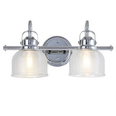 Virginia 17.25 in. 2-Light Metal/Glass LED Chrome Vanity Light